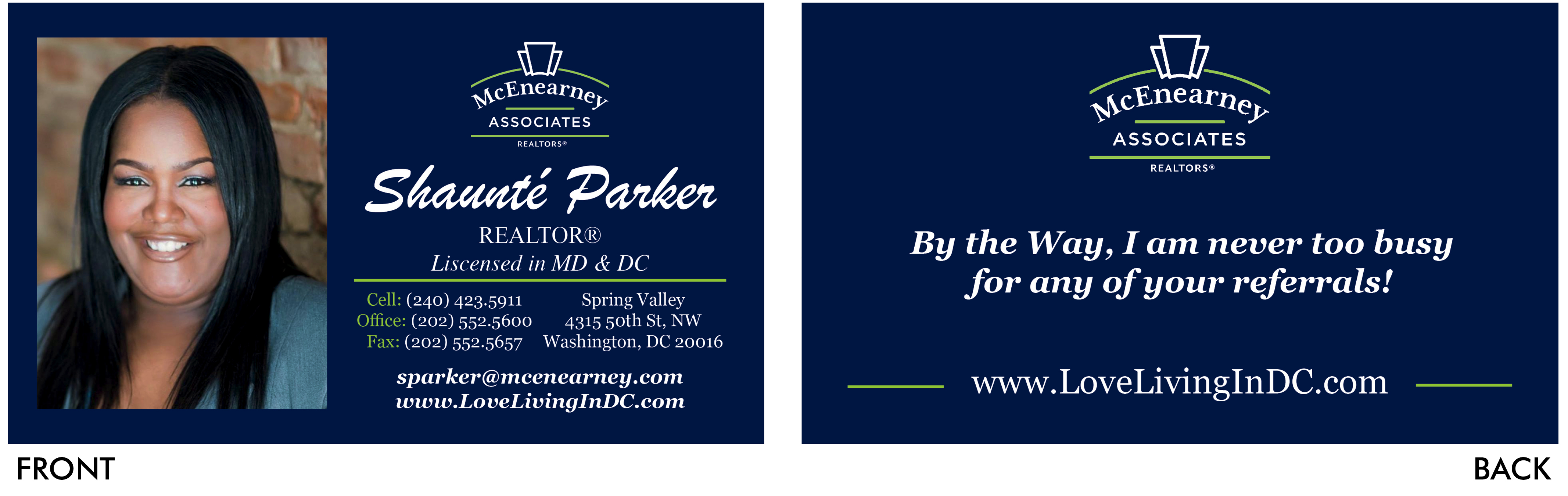 Shaunte Parker Business Card